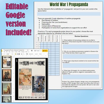 World War 1 Propaganda Analysis by Students of History | TpT