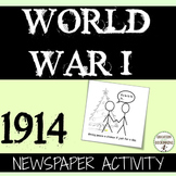 World War 1 Quick and Easy Newspaper Activity for 1914