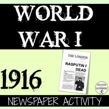 World War I Quick and Easy Newspaper Activity for 1916