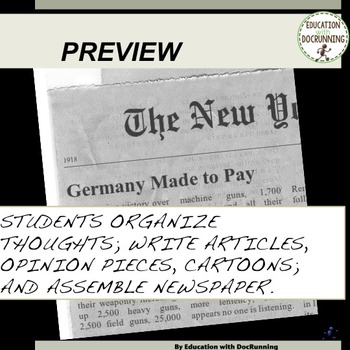World War 1 Quick and Easy Newspaper Activity for 1917-1918