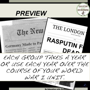 World War I Newspaper Project Bundle 30+ INFORMATIONAL TEXT + PROJECT