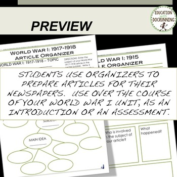 World War 1 Newspaper Project Bundle 30+ INFORMATIONAL TEXT + PROJECT