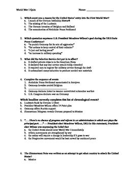 World War I Quiz