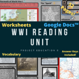 World War I Reading Unit and Worksheets - Google Docs™