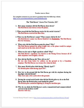 World War I Red Baron Primary Source Worksheet