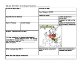World War I Review Sheet (WWI Summary Sheet)