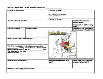 World War I Review Sheet (WWI Summary Sheet)