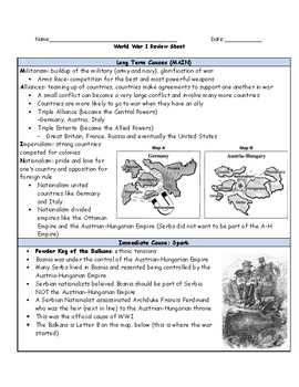 World War I Review Sheet with Student Fill In and Answer Key