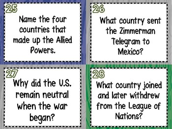 World War I Review Task Cards - Set of 28 (WWI, WW1)