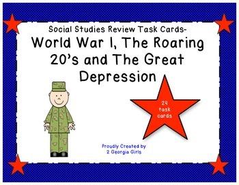 GA Milestones World War I, Roaring 20's, and Great Depression Task Cards