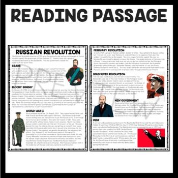 World War I- Russian Revolution Reading Comprehension Worksheet, Bolsheviks