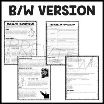 World War I Russian Revolution Reading Comprehension ...
