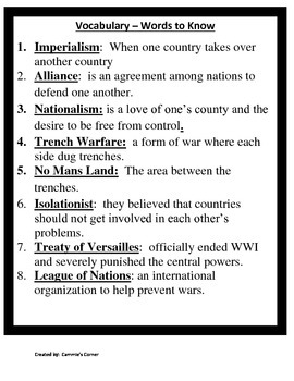 World War I STUDY GUIDE