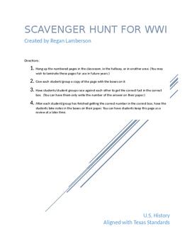 World War I Scavenger Hunt Cooperative Learning Activity