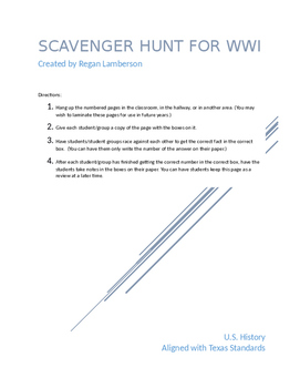 WWI Scavenger Hunt Cooperative Learning Activity US History STAAR EOC Prep