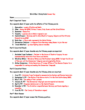 World War I Study Guide & Test