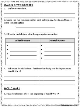 World War I Study Guide and Test (WWI, WW1)