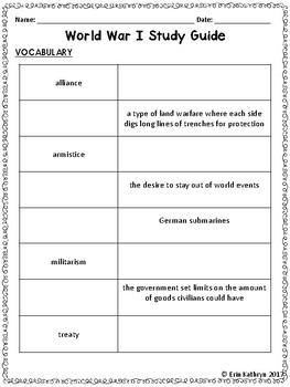 World War I Study Guide and Test (WWI, WW1)