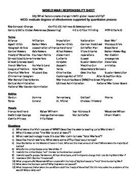 World War I Study guide and Unit organizer