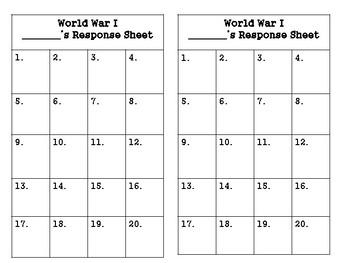 World War I Task Cards (GMAS:  SS5H2)