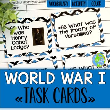 World War I Task Cards and Recording Sheet