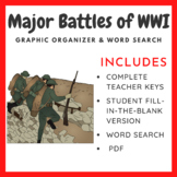 Major Battles of World War 1: Graphic Organizer & Word Search