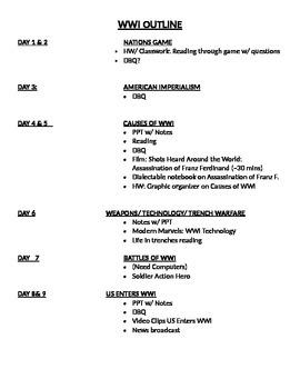 World War I Teacher Daily Outline for Unit