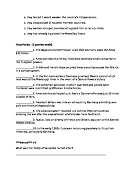 World War I Test