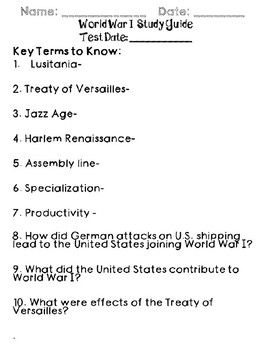 World War I Test and Study Guide