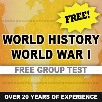 World War I Test written and group World History Free
