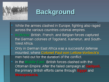 World War I - The African & Middle Eastern Front