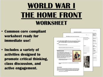 World War I - The Home Front - US History Common Core
