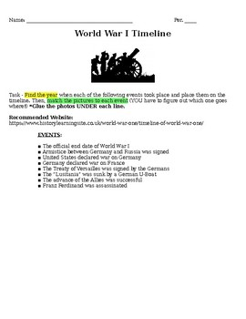 World War I Timeline assignment