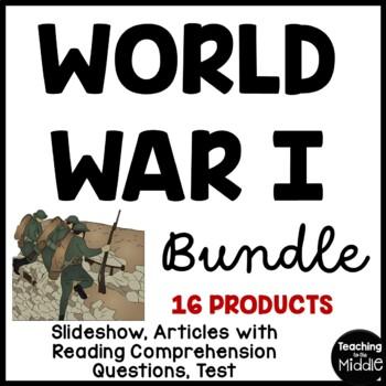 World War I UNIT BUNDLE, Reading Comprehension, Foldable, Test, Project