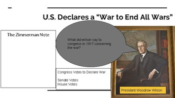 World War I, US History - Digital Interactive Notebook for Google Slides