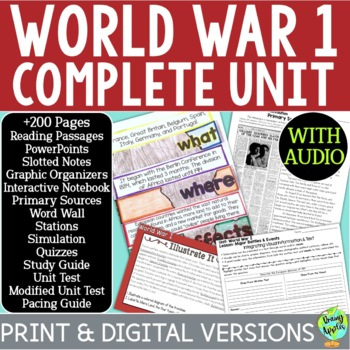 World War 1 Curriculum, World War I, WW1, WWI; Distance Learning
