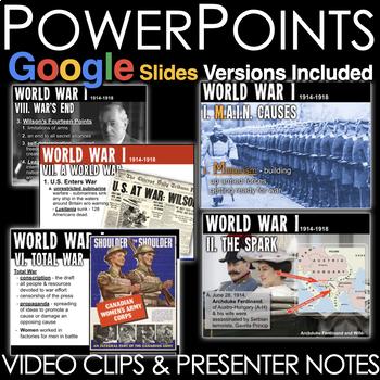 World War I Unit - PowerPoints, Worksheets, Lesson Plans+Test(WWI)