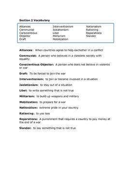 World War I Vocabulary