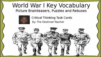 World War I Vocabulary Brainteaser Rebus Puzzles Task Cards Activites