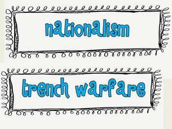 World War I Vocabulary Cards
