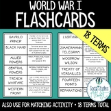 World War I Vocabulary Flash Cards & Matching Activity w/ Terms and Definitions