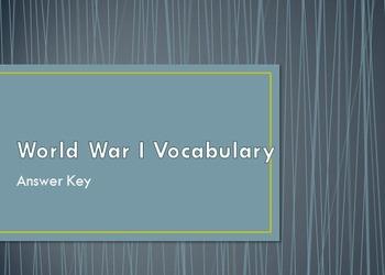 World War I Vocabulary Handout & Answer Key Presentation