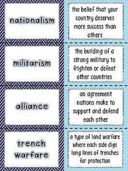World War I Vocabulary Matching Activity (World War 1, WWI, WW1)