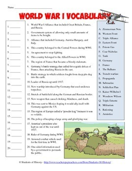 worksheet on world war i kidz activities. Black Bedroom Furniture Sets. Home Design Ideas