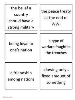 World War I Vocabulary Memory Game