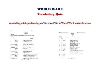 World War I Vocabulary Mini Quiz