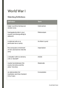 World War I - Vocabulary Packet