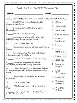 World War I Vocabulary Packet BONUS---Posters