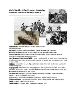 World War I Vocabulary Study Guide and Quiz