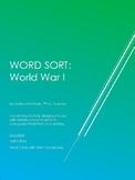 World War I Vocabulary Word Sort
